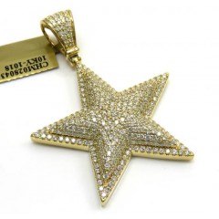 10k Yellow Gold Diamond Double Layer Star Pendant 3.25ct