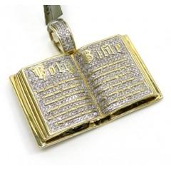 10k Yellow Gold Diamond Holy Bible Book Pendant 0.56ct