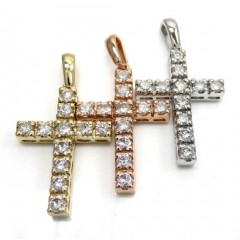 14k Yellow White Or Rose Gold 15 Pointer Diamond Prong Cross 1.65ct