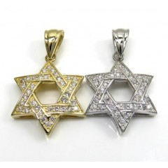 14k Yellow Or White Gold Diamond Star Of David Pendant 0.50ct
