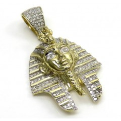 10k Yellow Gold Diamond Medium King Tut Egyptian Pendant 0.83ct