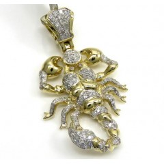 10k Yellow Gold Small Diamond Scorpion Pendant 0.46ct