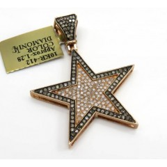 10k Rose Gold Champagne & White Diamond Star Pendant 1.28ct