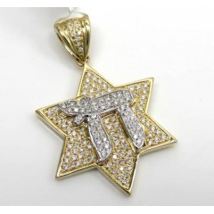 14k Two Tone Gold Diamond Chai & Star Of David Pendant 0.49ct