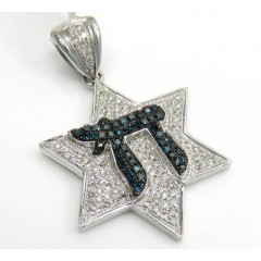 14k White Gold Blue Diamond Chai & Diamond Star Of David Pendant 0.65ct