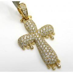 10k Yellow Gold Medium Vs Diamond Drip Cross 3.00ct