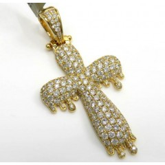 10k Yellow Gold Medium Vs Diamond Drip Cross 3.00ct