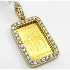 14k Yellow Gold Diamond Frame With 24k Gold Chai Pendant 1.13ct