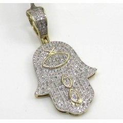 10k Yellow Gold Diamond Hieroglyphic Hamsa Pendant 0.52ct