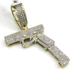10k Yellow Gold Diamond Glock Handgun Pendant 0.46ct