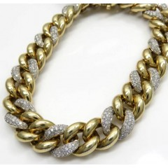 10k Yellow Gold Diamond Cuban Hollow Bracelet 12mm 8.50 Inches 3.56ct