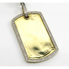 10k Yellow Gold Diamond Frame Dog Tag Pendant 0.37ct