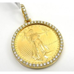 14k Yellow Gold Large Diamond Liberty 1/2 Oz Coin Pendant 1.15ct
