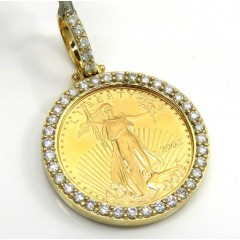 10k Yellow Gold Medium Diamond Lady Liberty 1/4 Oz Coin Pendant 1.07ct