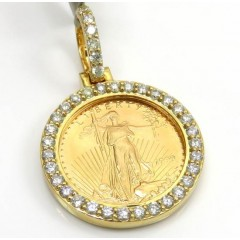10k Yellow Gold Small Diamond Lady Liberty 1/10 Oz Coin Pendant 0.70ct