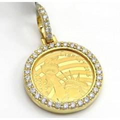 10k Yellow Gold Small Diamond Liberty 1/10 Oz Coin Pendant 0.69ct