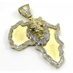 10k Yellow Gold Large Diamond Africa Lion King Pendant 0.83ct