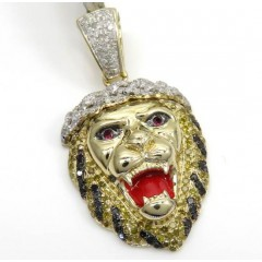 10k Yellow Gold Large Diamond Lion Enamel Pendant 1.34ct