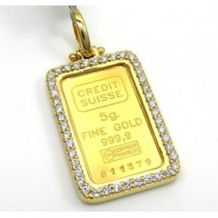 10k Yellow Gold Large Diamond Credit Suisse Bar Pendant 0.80ct