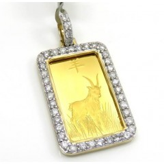 10k Yellow Gold Large Diamond Goat Suisse Bar Pendant 1.04ct