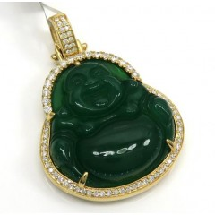 10k Yellow Gold Large Green Jade Fat Buddha Diamond Pendant 0.60ct