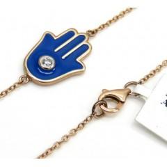 14k Rose Gold Blue Enamel Diamond Hamsa Bracelet 7 Inches 0.03ct