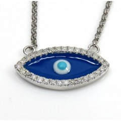 14k White Gold Enamel Diamond Evil Eye Pendant And Chain 16 Inches 0.12ct
