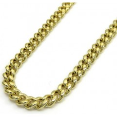 10k Yellow Gold Hollow Miami Link Chain 20-26 Inches 4.50mm