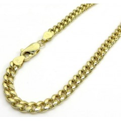 10k Yellow Gold Hollow Miami Link Bracelet 8 Inches 4.50mm