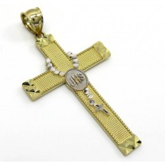 10k Two Tone Large Rosary Jhs Cross