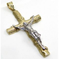 10k Solid Two Tone Medium Bark Wood Finish Jesus Cross