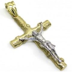 10k Solid Two Tone Small Bark Wood Finish Jesus Cross