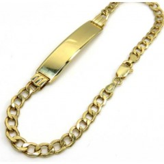 10k Yellow Gold Hollow Cuban Id Bracelet 8 Inch 4.2mm