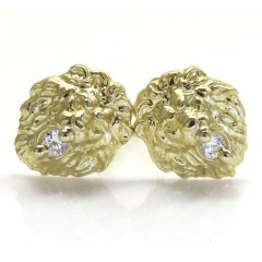 10k Yellow Gold Mini Cz Lion Earrings 0.10ct