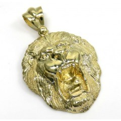 10k Yellow Gold Solid Medium 3d Lion Head Pendant