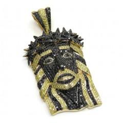 14k Yellow Gold Large Canary & Black Diamond Jesus Pendant 6.90 Ct