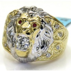 10k Two Tone Gold Diamond Lion Ring 0.23ct