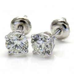 14k White Gold Vs2 Round Cut Diamond Studs Earrings 1.00ct