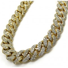 10k Solid Yellow Gold Thick Diamond Miami Bracelet 8.50 Inch 10mm 13.40ct