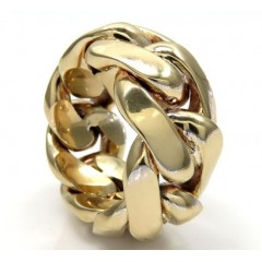 10k Yellow Gold 15mm Solid Miami Cuban Link Ring