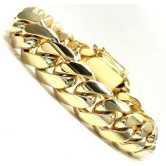 10k Yellow Gold Solid Thick Miami Bracelet 8.75 Inches 15mm