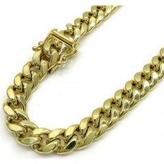 10k Yellow Gold Medium Hollow Puffed Miami Bracelet 8 Inch 6.70mm