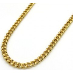 10k Yellow Gold Hollow Miami Cuban Chain 20-24 Inch 2.20mm