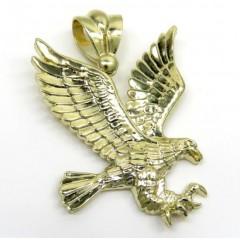 10k Yellow Gold Medium Diamond Cut Flying Eagle Pendant
