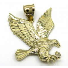 10k Yellow Gold Small Diamond Cut Flying Eagle Pendant