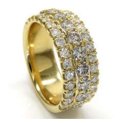 14k Solid Yellow Gold Three Row Diamond Half Iced 10mm Band 4.24ct