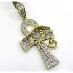 10k Yellow Gold Diamond Eye Of Horus Ankh Pendant 0.42ct