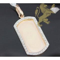 1.00ct 14k Rose Gold Diamond classic Dog Tag
