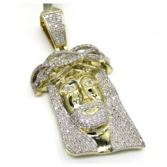10k Yellow Gold Large Diamond Jesus Face Pendant 0.90ct