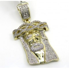 10k Yellow Gold Medium Diamond Jesus Face Pendant 0.48ct